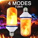 Omicoo 2 Pack LED Flame Effect Fire Light Bulbs E26 E27 4 Modes With Upside Down Effect Simulated Decorative Light Atmosphere Lighting Vintage Flaming Lamp for Holiday Hotel / Bar / Party / Home (Tamaño: 2 Piece)