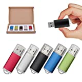 TOPSELL 5 Pack 4GB USB 2.0 Flash Drive Memory Stick Thumb Drives (5 Mixed Colors: Black Blue Green Red Silver)