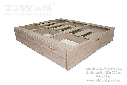 Schubladensockel DeLuxe fur Wasserbett Sockel / Unterbau / Podest mit 6 Schubladen Dekor EICHE SÄGERAU HELL fur Bettgröße 180x200cm 33cm hoch