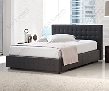 "Cama doble tapizada ""Riga"" con contenedor - 100% Made in Italy"