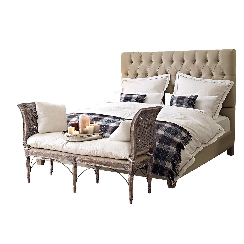LOBERON Elegantes Doppelbett Benton im klassischen Cesterfield-Design, mit gepolstertem Betthaupt, inkl. Lattenrost, leinen