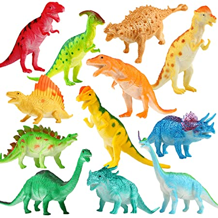 Figure de Dinosaure, l'Ensemble de Grand Dinosaure de 7 Pouces (12 Paquets), Dinosaures Réalistes Faits de Matière Mélangées de Sécurisé, Yeonha Toys Ensemble de Dinosaures En Vinyle Plastique Pour Fêt