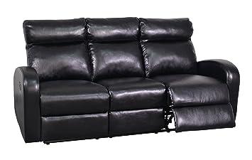 Global Furniture Reclining Sofa, Black
