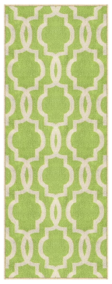 "Kapaqua Rubber Backed Fancy Moroccan Runner Non-Slip Rug, 21"" W x 60"" L, Trellis Green & Ivory"