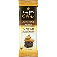 12-Pack Raw Rev Glo Protein Bars, Peanut Butter/Dark Chocolate/Sea Salt,1.6oz.