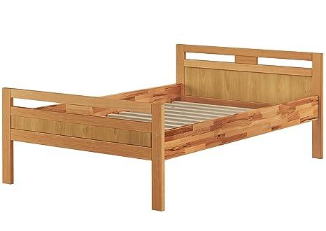 Elegante letto 120x200 ANCHE per ANZIANI in Faggio Eco laccato con doghe legno 60.74-12 FV