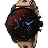 Diesel Men's Little Daddy Quartz Stainless Steel and Leather Chronograph Watch, Color: Black, Brown (Model: DZ7408) (Color: Brown, Tamaño: One Size)