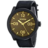 NIXON Men's Corporal Series Analog Quartz Watch / Leather or Canvas Band / 100 M Water Resistant and Solid Stainless Steel Case (Color: Matte Black/Orange Tint, Tamaño: One Size)