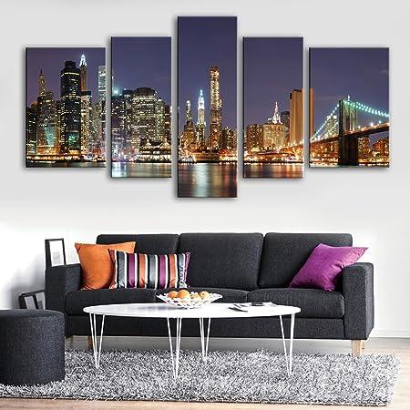 Xiuxiandianju 5PCS ciudad de neón pintura decorativa cuadros sin marco salón comedor cuarto de televisión pasillo de cinco conjuntos de pinturas