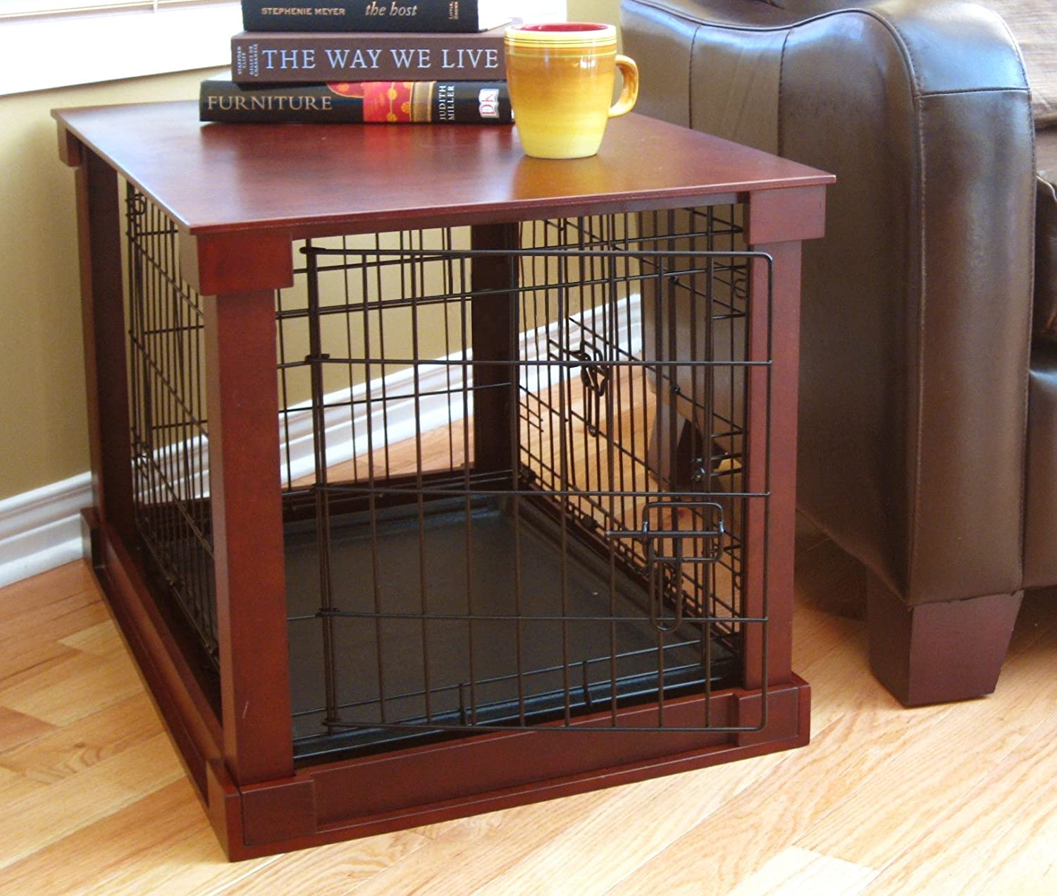 Furniture Style Pet Crate with removable plastic tray