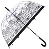 HAOCOO Street Clear Umbrella,Bubble Transparent Fashion Dome Auto Open Umbrella Windproof for Outdoor Weddings or Events (Color: Street, Tamaño: One_Size)