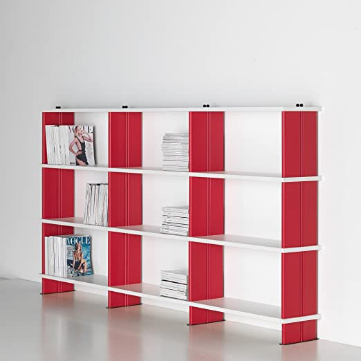 NIKKA Bibliothèque modulables,Étagère blanc Flancs ROUGE cm. 270 x136 h x 30