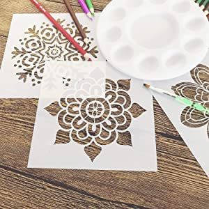 WOWOSS 9 Pcs Mandala Reusable Stencils Set 6x6 inch Painting Stencil Laser Cut Painting Templates for Floor Wall Tile Wood Furniture Fabric (Color: White, Tamaño: 6x6 Inch)