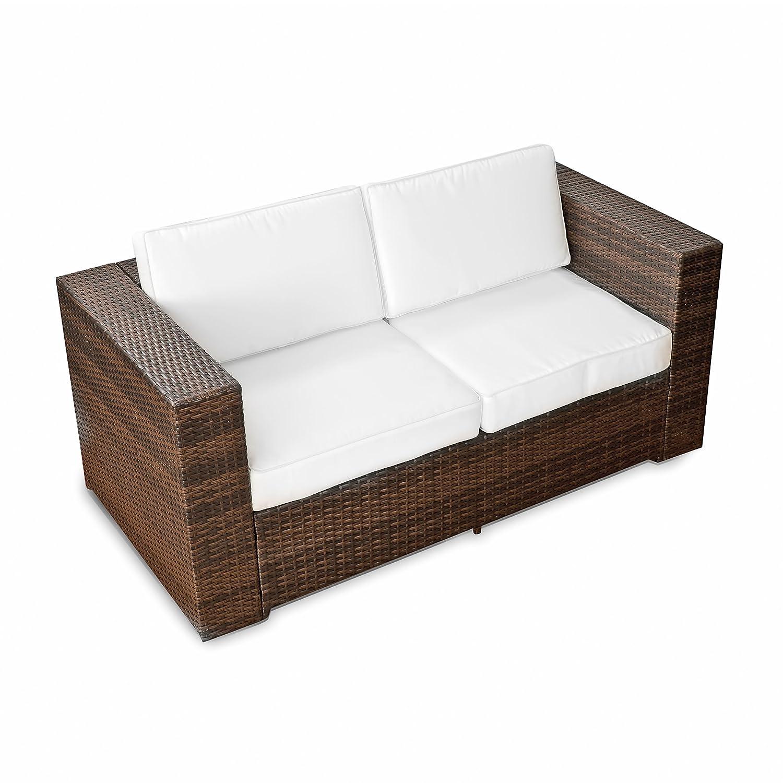 XINRO (2er) Polyrattan Lounge Sofa – Gartenmöbel Couch Bank Rattan – durch andere Polyrattan Lounge Gartenmöbel Elemente erweiterbar – In/Outdoor – handgeflochten – braun günstig kaufen