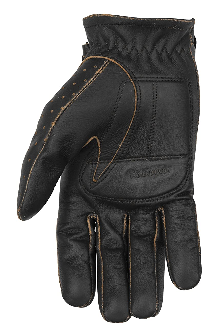 Black Brand Men's Leather Vintage Knuckle Motorcycle Gloves (Black, Large) 1