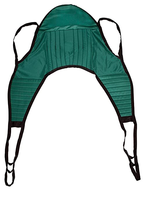 Drive Medical Padded Patient Lift U Sling with Head Support, Green, Extra Large