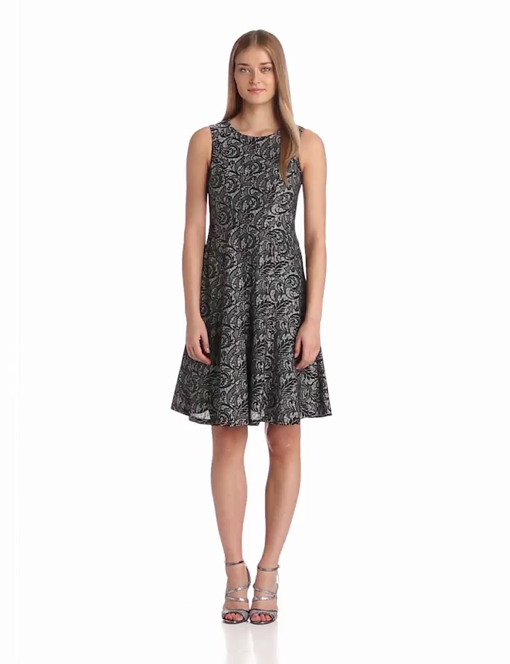 Anne Klein Womens Lace Print Hourglass Swing Dress