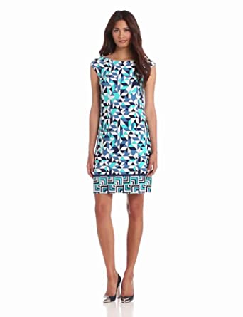 Donna Morgan Women's Cap Sleeve Sheath Dress, Jadeite Multi, 8