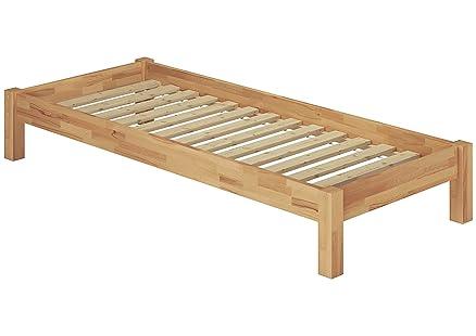 Solido letto futon 90x200 in faggio massello Eco laccato con assi di legno 60.84-09