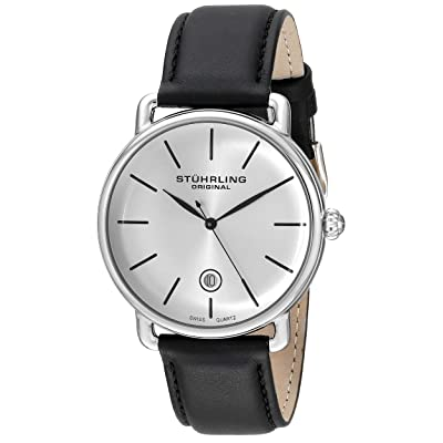 Stuhrling Original Men's 768.01 Ascot Silver-Tone Stainless Steel Watch with Black Leather Band