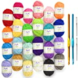 Mira Handcrafts 24 Acrylic Yarn Bonbons | Total of 525 Yards Craft Yarn for Knitting and Crochet | Includes 2 Crochet Hooks, 2 Weaving Needles, 7 E-Books | DK Yarn | Perfect Beginner Kit (Color: Mixed)