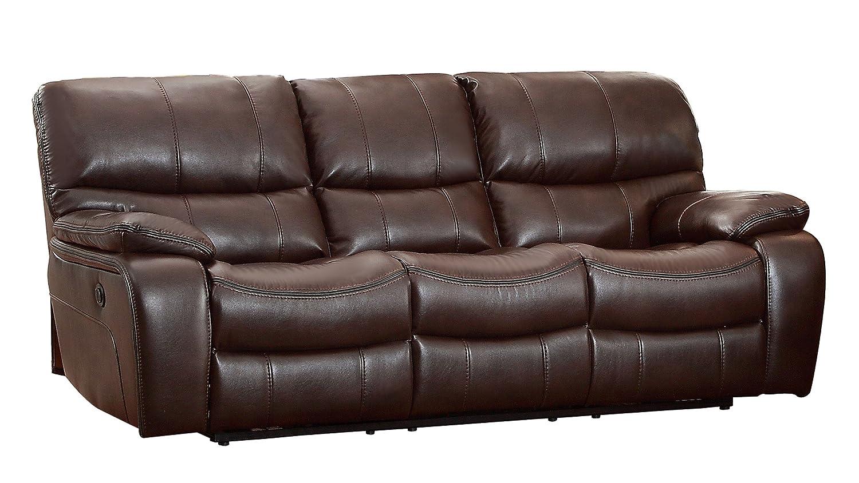 Homelegance Pecos Modern Design Power Double Reclining Sofa Leather Gel Match - Brown