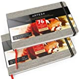 "ARTEZA 5.1x8.3"" Watercolor Book, Pack of 2, 74 Pages per Pad, 110lb/230gsm, Cold Pressed Paper, Linen Bound with Bookmark Ribbon and Elastic Strap, for Watercolor Techniques and Mixed Media"