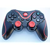 FSC Wireless Remote PS3 Controller Gamepad for use with PlayStation 3 (Black&Red) (Color: Black&Red)