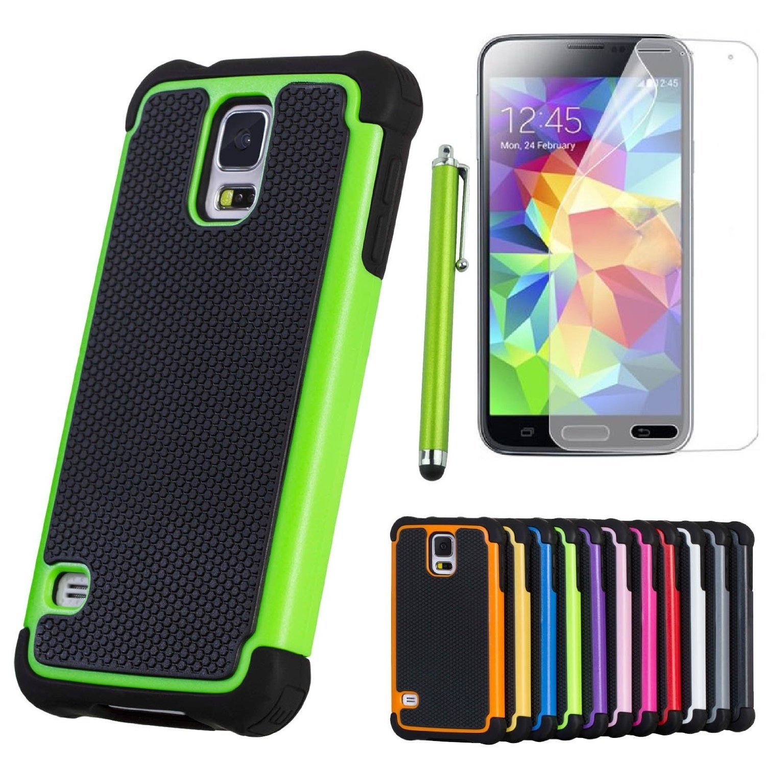 ShopNY Case -Heavy Duty Rugged Cover Case for Samsung Galaxy S5 SV S V Smart Phone (Green)