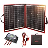 DOKIO 80 Watts 12 Volts Monocrystalline Foldable Solar Panel with Inverter Charge Controller (Color: Black,Red, Tamaño: 80watt)