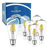 Dimmable LED Edison Light Bulbs: 6 Watt, 4000K Daylight White Lightbulbs - 60W Equivalent - E26 Base - Vintage Light Bulb Set - 6 Pack (Color: Daylight White)