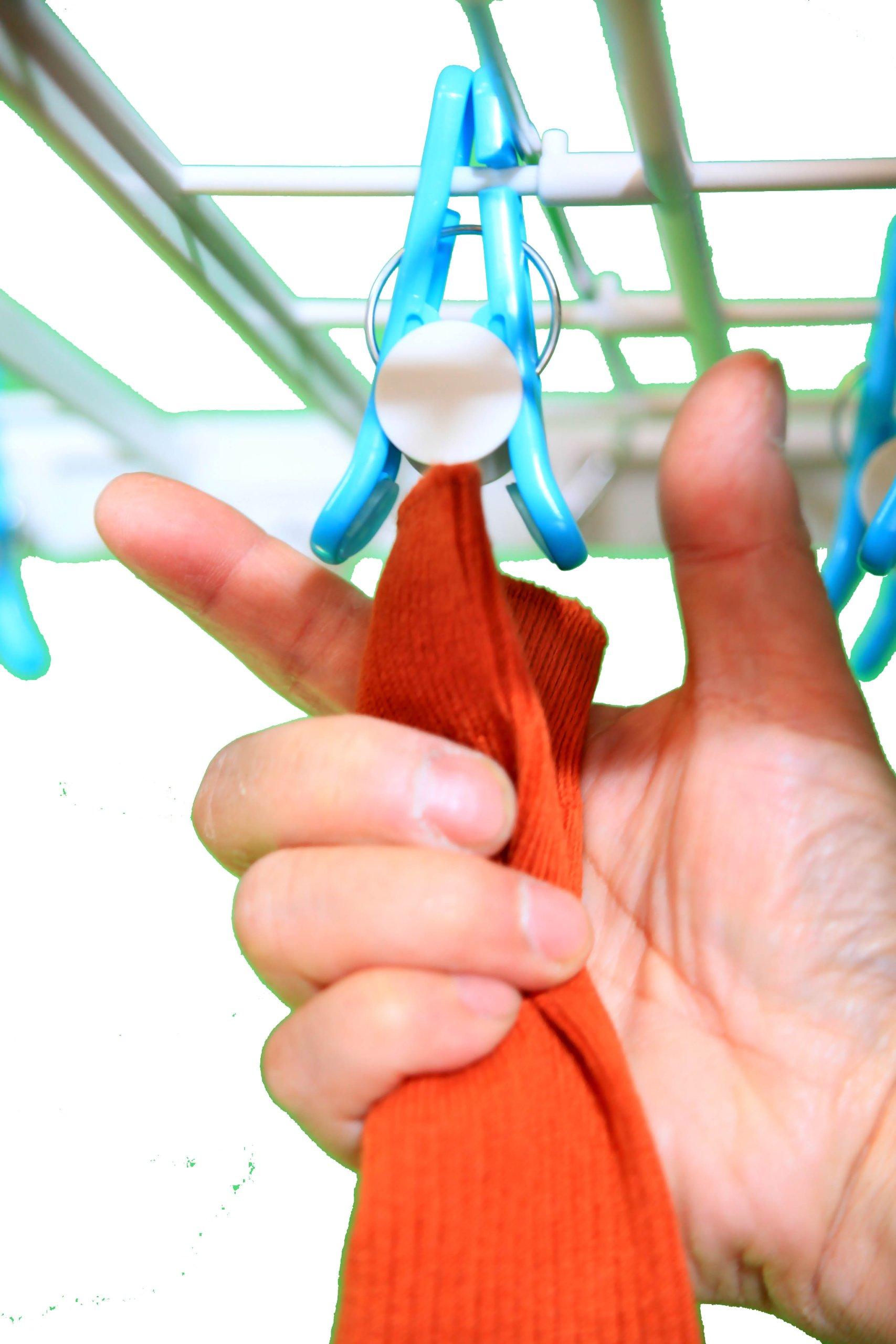 片手で着脱できる洗濯物干しハンガー 【いちどにありがとう32】 (青)