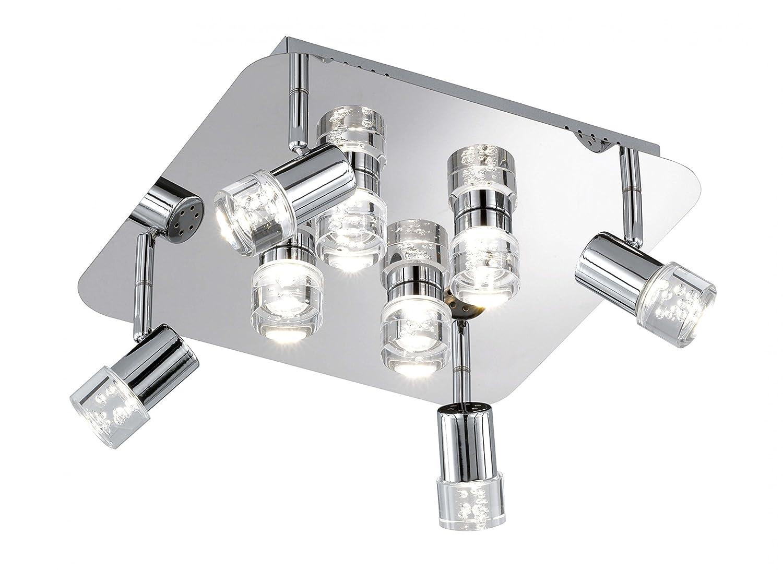 WOFI Deckenleuchte, 8-flammig, Serie Antibes, 8 x LED, 4 W, Breite 34 cm, Höhe 15 cm, Tiefe 34 cm, Kelvin 3000, Lumen 400, chrom 9792.08.01.0000