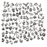 Pack of 100 Mixed DIY Antique Animal Themes Pendants Charms for Crafting,Bracelet Necklace Jewelry Findings Jewelry Making Accessory