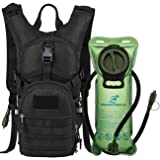 Tactical MOLLE Hydration Pack Backpack 900D with 2L Leak-Proof Water Bladder, Keep Liquids Cool for Up to 4 Hours, Outdoor Daypack for Cycling, Hiking, Running, Climbing, Hunting, Black