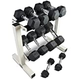 Rubber Coated Hex Dumbbell Weights Training Set w/ Rack 5 - 25 lb Titan Fitness