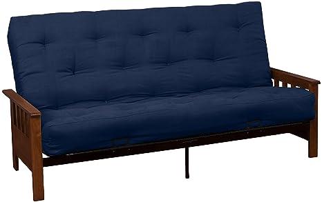 Epic Furnishings Berkeley 10-Inch Inner Spring Futon Sofa/Sleeper Bed, Queen, Walnut Arms Suede Dark Blue Upholstery