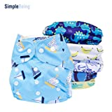 SimplyLife Home Reusable Pack of 6 for Boys - Baby Cloth Diapers, Washable Adjustable Eco-Friendly, Soft Super Absorbent Fabric with Waterproof Cover, Breathable Comfortable No Leaks (Color: Mixed, Tamaño: Al Sizes)