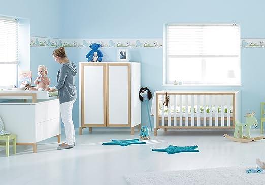 Herlag H1969-008 Kinderzimmer Alex, bestehend aus: Kinderbett, Kommode, Wickelplatte, Kleiderschrank 2-turig, weiß/braun gebeizt