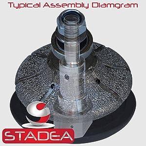 STADEA Vacuum Brazed Diamond Profile Wheel 1 1/2 inch Bevel E40 Granite Marble Stone With M14 Arbor (Color: Arbor M14, Tamaño: 40MM - 1 1/2)
