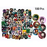 Kilmila Stickers for Demon Slayer & My Hero Academia Anime Cartoon [100pcs] Random Stickers Decals Vinyls for Laptop,Waterbottle,Gift,Teens,Cars, Collection?Skate Board(with 6 Pack Button Pins)