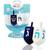 Let's Play Dreidel The Hanukkah Game 2 Extra Large Blue & White Wood Dreidels - Instructions Included! - D10