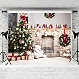 Kate 7x5ft Christmas Photography Backdrop White Brick Fireplace Bear Christmas Tree Backgrounds Children Photography (Color: 212792, Tamaño: 7x5ft)