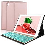 SENGBIRCH Compatible Keyboard Case iPad 9.7 2018 - iPad 9.7 2017 - iPad Air 2&1 - iPad Pro 9.7-7 Colors Backlit Detachable Keyboard - PU Leather Stand - iPad Keyboard Case, (Rose Gold, 9.7) (Color: Rose, gold keyboard (9.7))