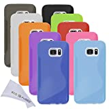 Case Bundle for Samsung Galaxy S7 including 10 Flexible TPU Covers with S Line Design - Slim Fit - Protection from Scratches - Microfiber Cleaning Cloth Included (Samsung Galaxy S7, 10 Pack)
