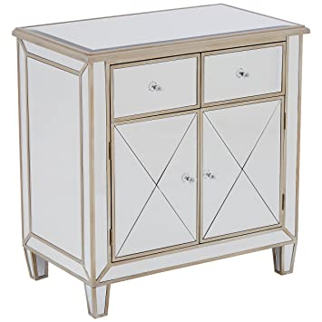 Premier Housewares Tiffany Mirrored Sideboard, Wood - Silver