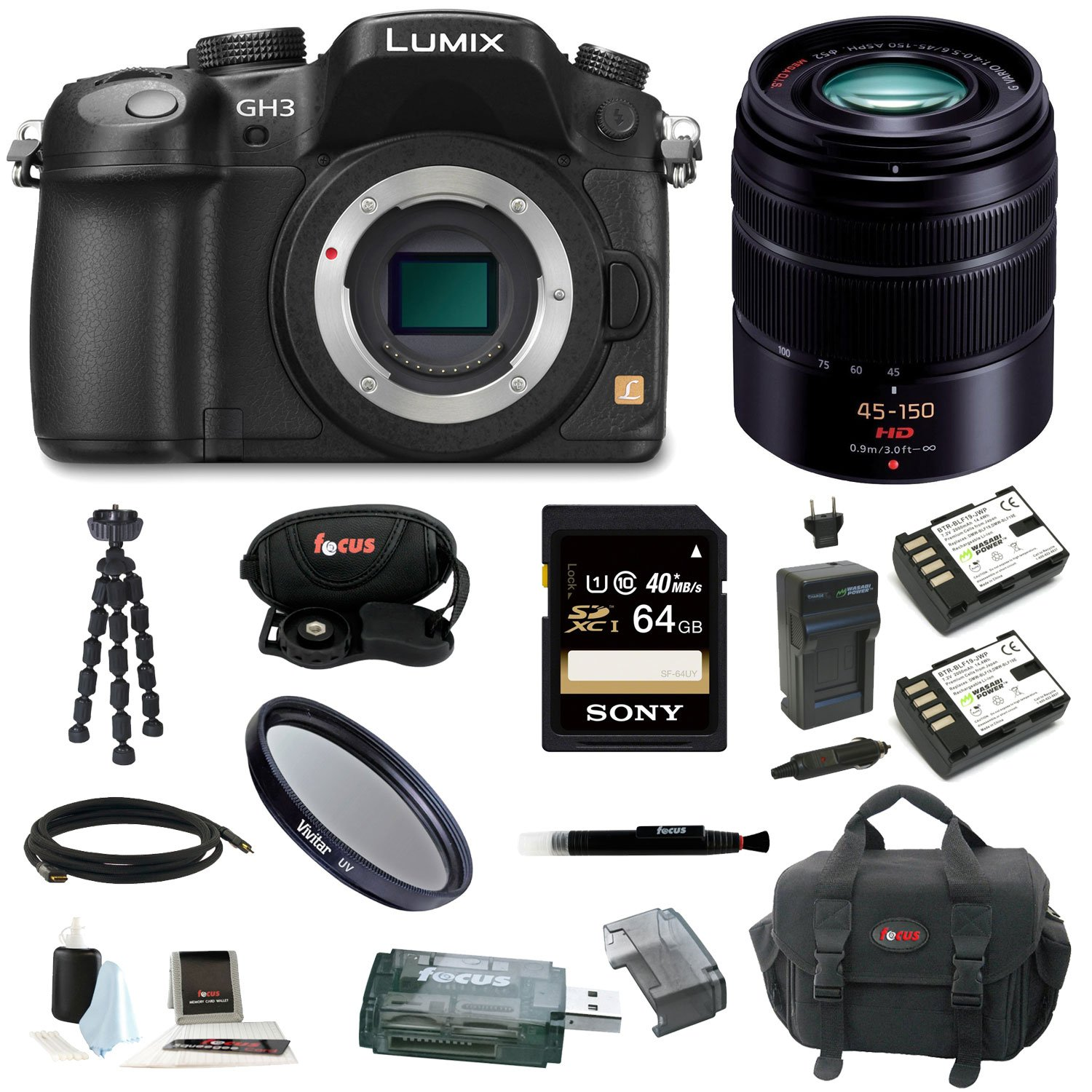 Panasonic Lumix DMC-GH3 GH3 DMCGH3 Mirrorless Micro Four Thirds Digital Camera (Black) + Panasonic H-FS45150K Lumix G Series Lens (Black)  ..