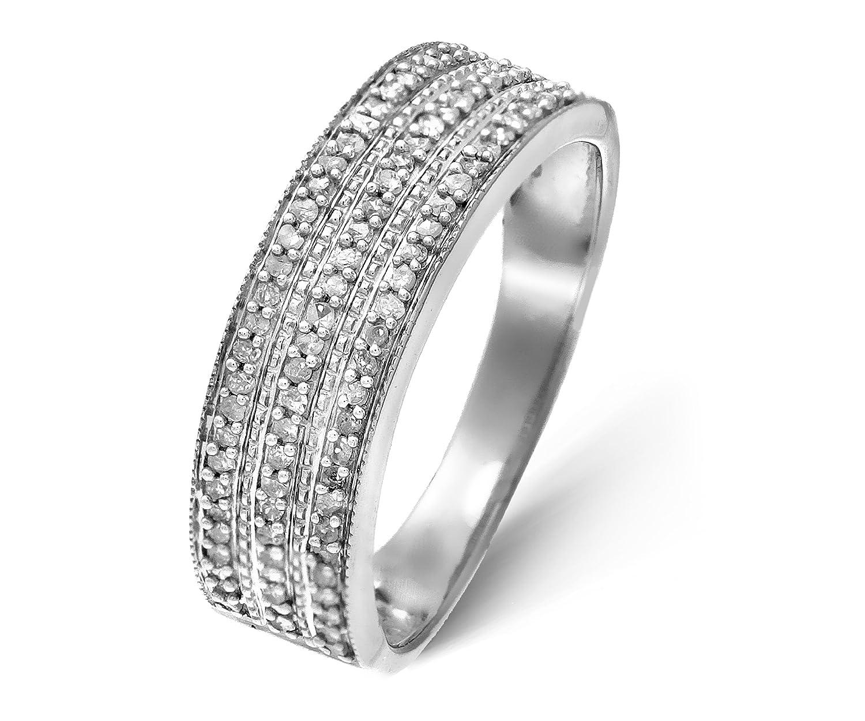 Funkelndes Feuer Glamouröser 925 Sterling Silber Cluster Damen - Diamant Ring Brillant-Schliff 0.25 Karat I-I1