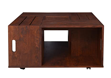 Furniture of America Trenton Crate Coffee Table, Vintage Walnut