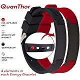 Anti EMF Radiation Protection Bracelet 4 in 1   Negative Ions 1200, Germanium, Far Infrared and Neodymium Magnet 1500 Gauss   Arthritis Pain.Carpal Tunnel.Strengthen Immunity.Migraines (Color: Red-black)